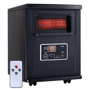 Goplus 1500W Electric Portable Infrared Quartz Space Heater Remote Black New