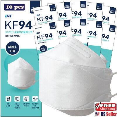 10 Pack Int Kf94 White Korean Face Mask 4 Layered 3d Ergonomic Design Mask