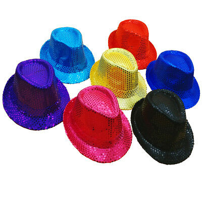 SEQUIN FEDORA Novelty Costume HAT - Classic Style Trilby Gangster Shiny Sequined - Sequin Fedora