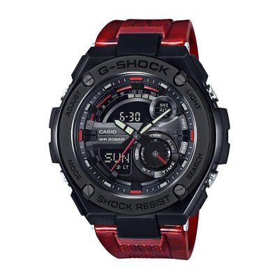 Casio Mens G Steel Gst210m 4A Super Illuminator World Time Red Resin Band Watch