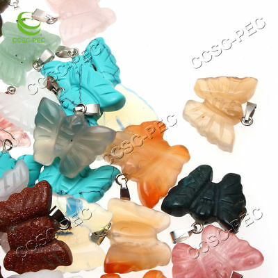 Natural Carved Butterfly Gemstone stone Silver Beads Pendant 30pcs/lot Wholesale (Carved Butterfly Silver Pendant)