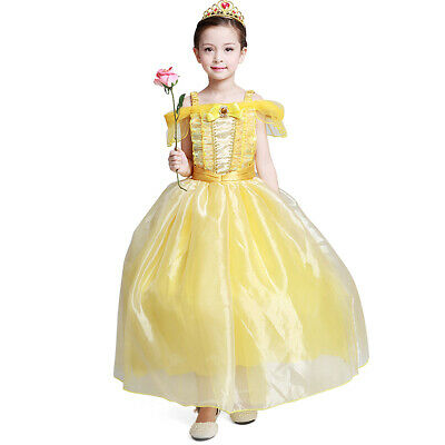 Girls Princess Belle Costume Halloween Party Fancy Dresses Up girls' - Princess Halloween Costumes