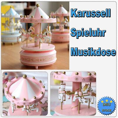 Karussell Spieluhr Pferdekarussell Spieldose Musikdose mit 4xKarussellpferd Rosa