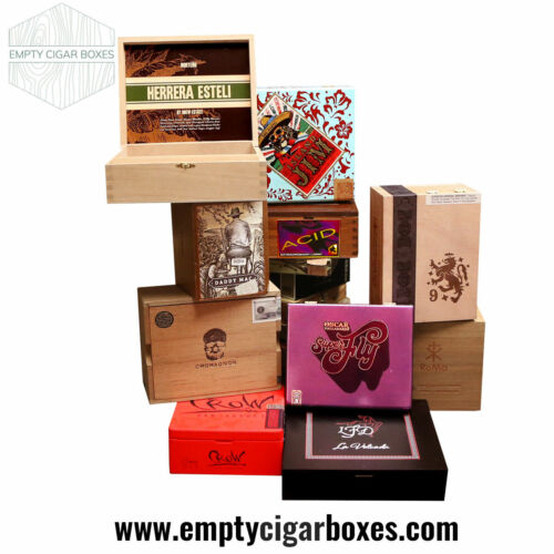 PREMIUM WOODEN EMPTY CIGAR BOXES FOR DECOR & CRAFTS CONTEMPORARY RARE LOT OF 10