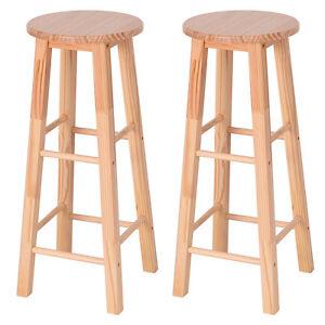 Set Of 2 Round 29 Bar Stools Wood Bistro Dining Kitchen Pub Chair Furniture New