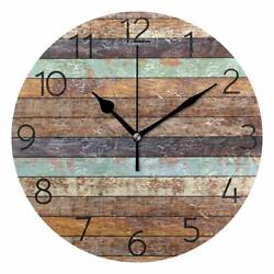 Nice Wall Clock 9.8 Colorful Vintage Wooden Style Rustic Shabby Chic Farmhouse