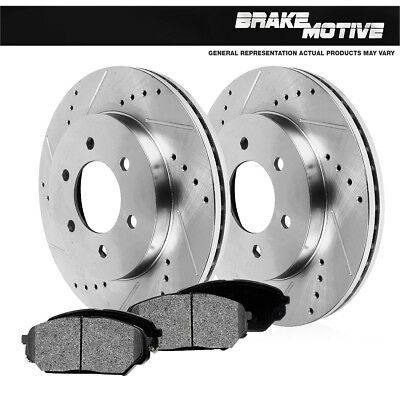 Front Drill & Slot Brake Rotors And Metallic Pads For K1500 Yukon 4WD 4X4 6Lug