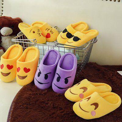 Cartoon Emoji Kids Boys Girls Indoor Winter Warm Slippers Non-slip Floor Shoes