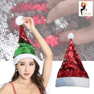 4c5956f2ba7 Christmas Santa Hat Reversible Sequins Deluxe Red Silver Fancy Dress Costume