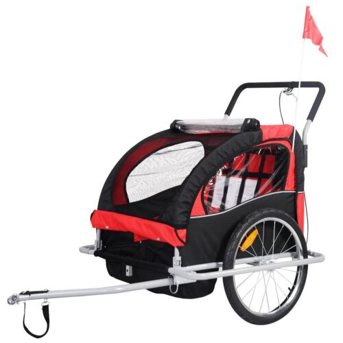 2 in 1 Double Child Baby Bike Trailer Carrier Bicycle Jogger
