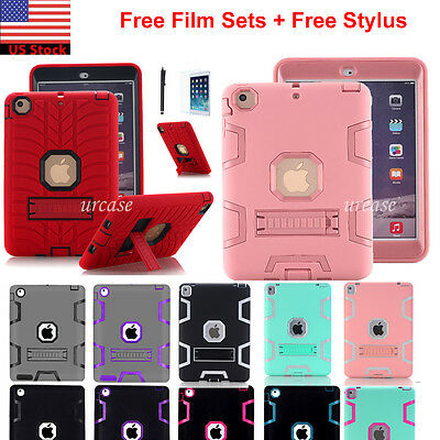 Ipad Mini Case - Shockproof Heavy Duty Rubber With Hard Stand Case Cover For iPad Air 2 iPad Mini