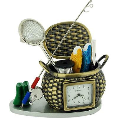 Miniatura Pesca Cesta & Accesorios Herramienta Juego Novedad Coleccionista Reloj