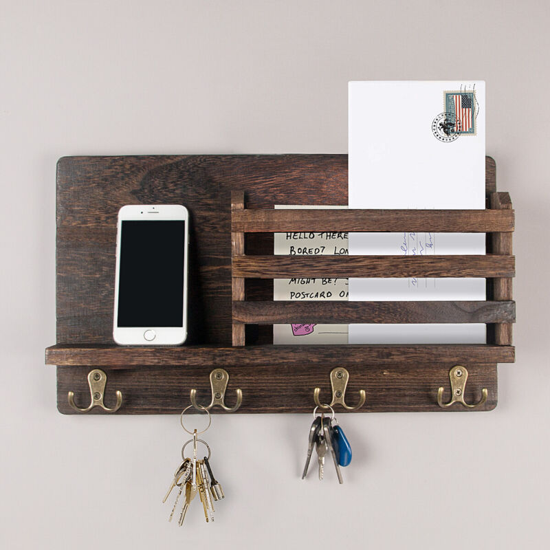 Wall Mounted Mail Holder Wooden Mail Sorter Organizer with 4 Double Key Hooks