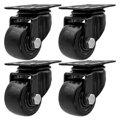 4 Pack 2 Inch Low Profile Black Heavy Duty Polyurethane Casters Wheels