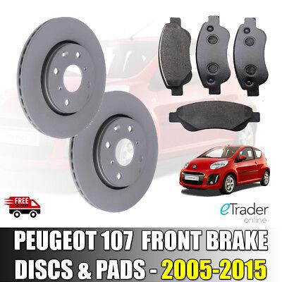 FRONT BRAKE DISCS AND BRAKE PADS PEUGEOT 107 1.0 2005-2015 DISC x 2 PAD SET x 4