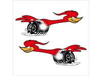 ROADRUNNER Bird Motorsport Racing Car Custom Bike Race Decals Stickers 100mm