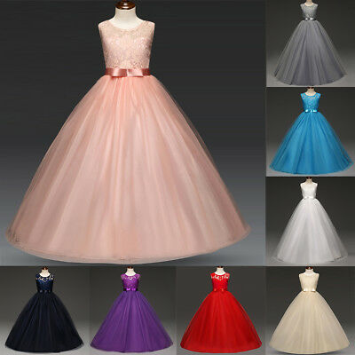 Lace Flower Girls Princess Dress Tulle Long Gown for Kids Wedding Bridesmaid Hot