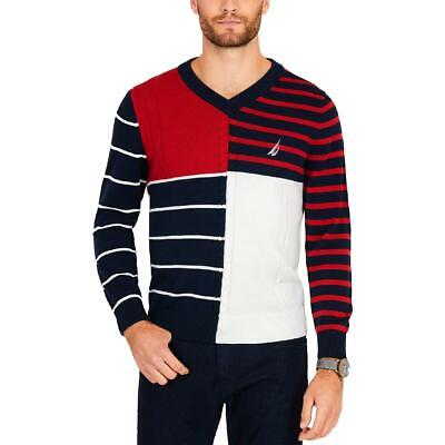 Nautica Mens Navy V-Neck Long Sleeves Patchwork Sweater Top L BHFO 5785