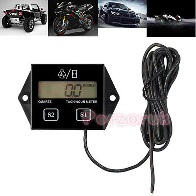 Digital RPM Tach Hour Meter Tachometer Gauge Spark Plug For Motorcycle 2/4 Strok