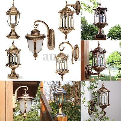 antique exterior wall light fixture aluminum glass lantern. Black Bedroom Furniture Sets. Home Design Ideas