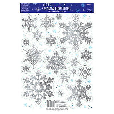 19 Christmas Frozen Snowflake Glitter Window Vinyl Party Decorations