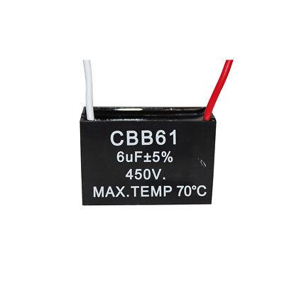 450V 6UF CBB61 Ceiling Fan Motor Running Capacitor 2 Wire 50/60 Hz