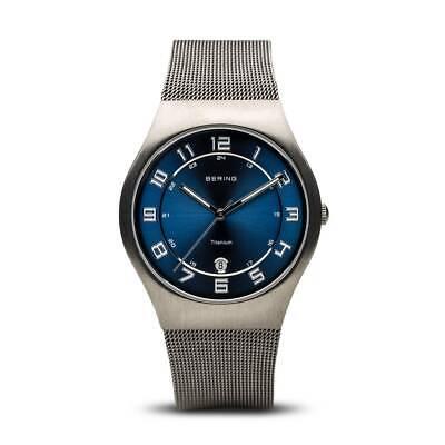 - BERING Time Mens Titanium Mesh Band Black Dial Sapphire Crystal Watch 11937-078