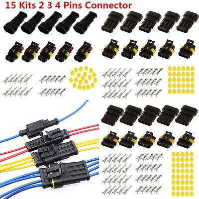 UNIVERSAL 15 KITS 2 3 4 PIN WAY ELECTRICAL WIRE CONNECTOR PLUG SEALED