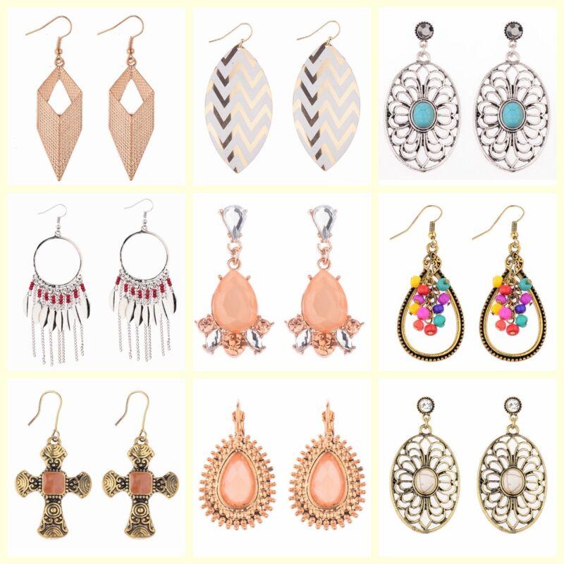 Vintage Bohemian Boho Style Silver/Gold Drop Long Hook Women Earrings Jewelry