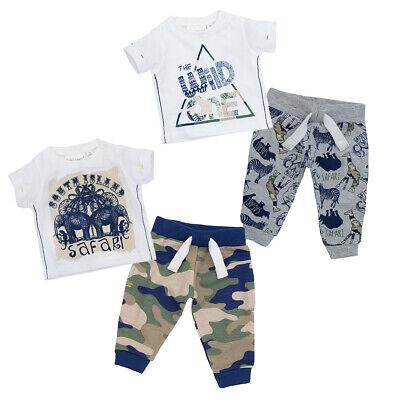 Newborn Baby Boys Jogger & T-Shirt Set Safari Themed Clothes Novelty Outfit New