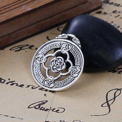 - 5PCs Sliver Tone Carve Celtic Knot Round Alloy Pendant 3.3x2.9cm For Necklace 50