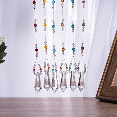 LONGWIN Set 6 Crystal Prisms Ornament Handmade Pendant Wedding Decor Craft Gifts