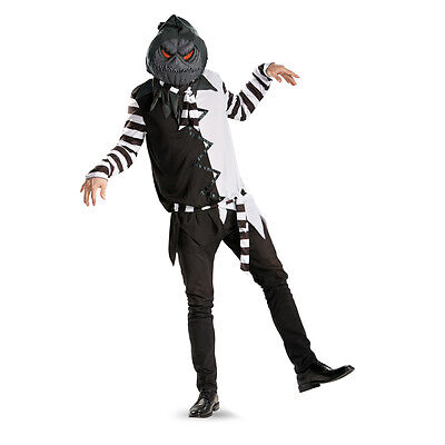 Creepy Black and White Jack-O-Lantern Adult Costume w/ Mask | Disguise 56536