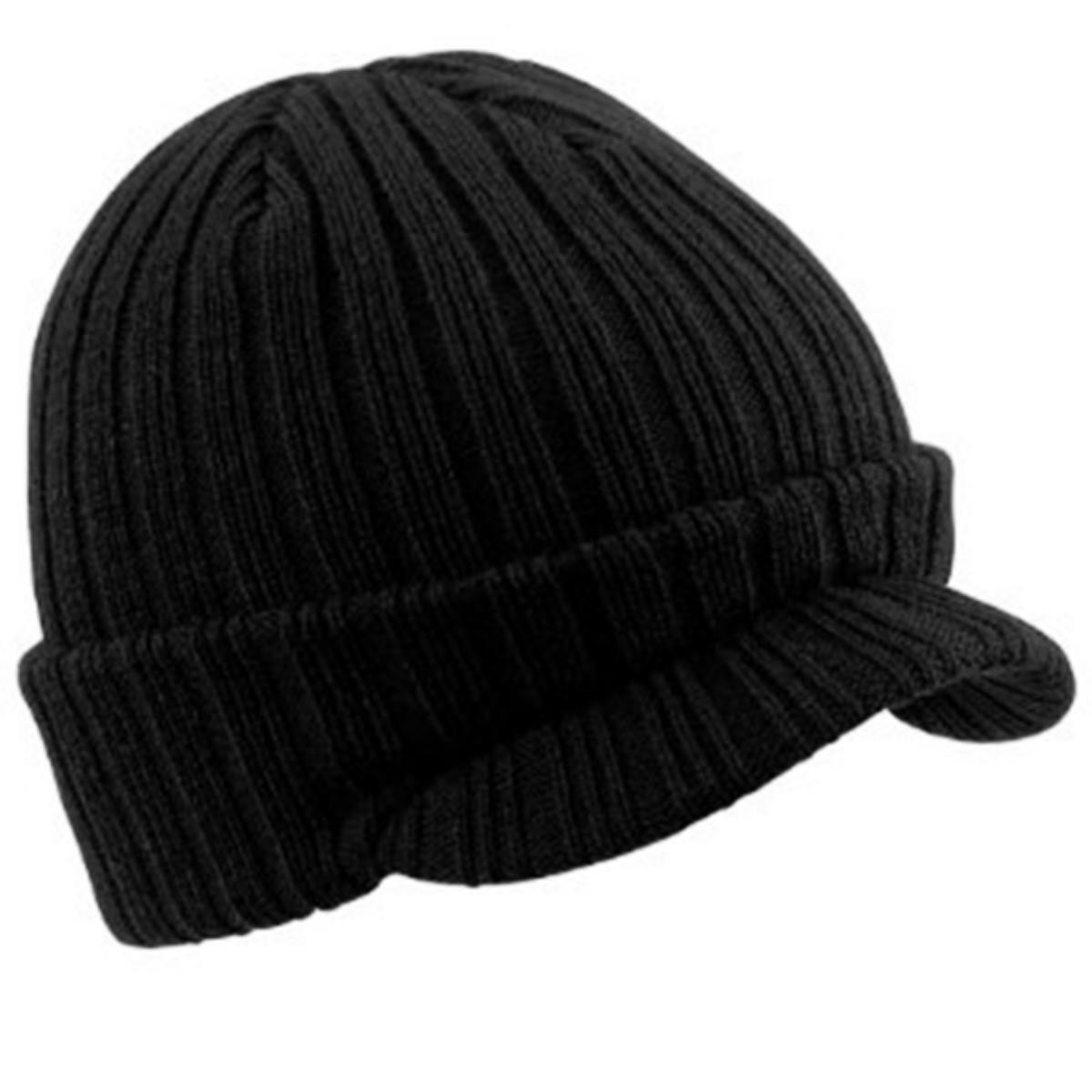 ORIGNAL Mens Thinsulate Insulation  Winter Ski Beanie Hat Ribbed Chunky Knit BLK
