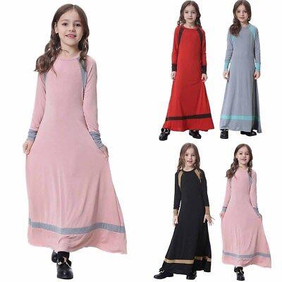 Girls Long Gown (Muslim Girls Maxi Dress for Kids Long Sleeve Holiday Abaya Islamic Kaftan)