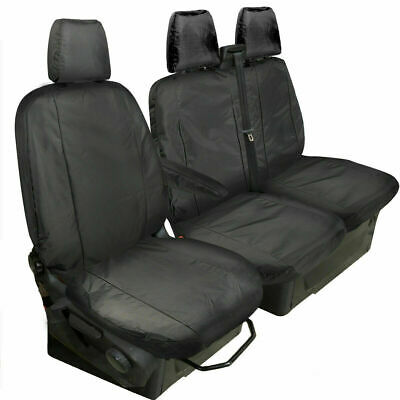 MK6 FORD TRANSIT DELUXE BLACK QUILTED DIAMOND LEATHER VAN SEAT COVERS 2-1