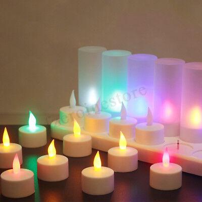 12 x LED ricaricabile senza fiamma tremolante tè luci Tealights candele + titola
