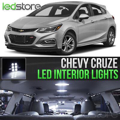 2011-2018 Chevy Cruze White Interior LED Lights Kit Package + License Lights