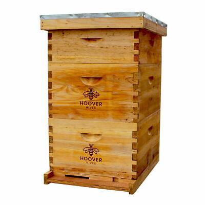 Natural Bees Wax Coated Langstroth Hive Kit 10 Frame 2 Deep Boxes 1 Medium Box