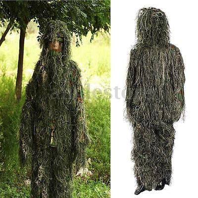 Ghillie Suit Sniper Camo 3D Woodland Camouflage Forest Hunting Hide 5 Piece Bag