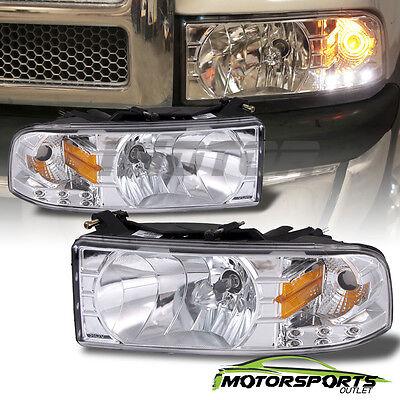 1994-2001 Dodge Ram 1500 2500 3500 LED Chrome Headlights w/ Corner Signal Lamps