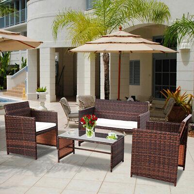 Garden Furniture - 4 PC Rattan Patio Furniture Set Garden Lawn Sofa Cushioned Seat Wicker Sofa New