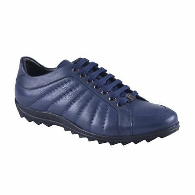 Versace Collection Men's Blue Leather Fashion Sneakers Shoes Sz 6 7 8 10