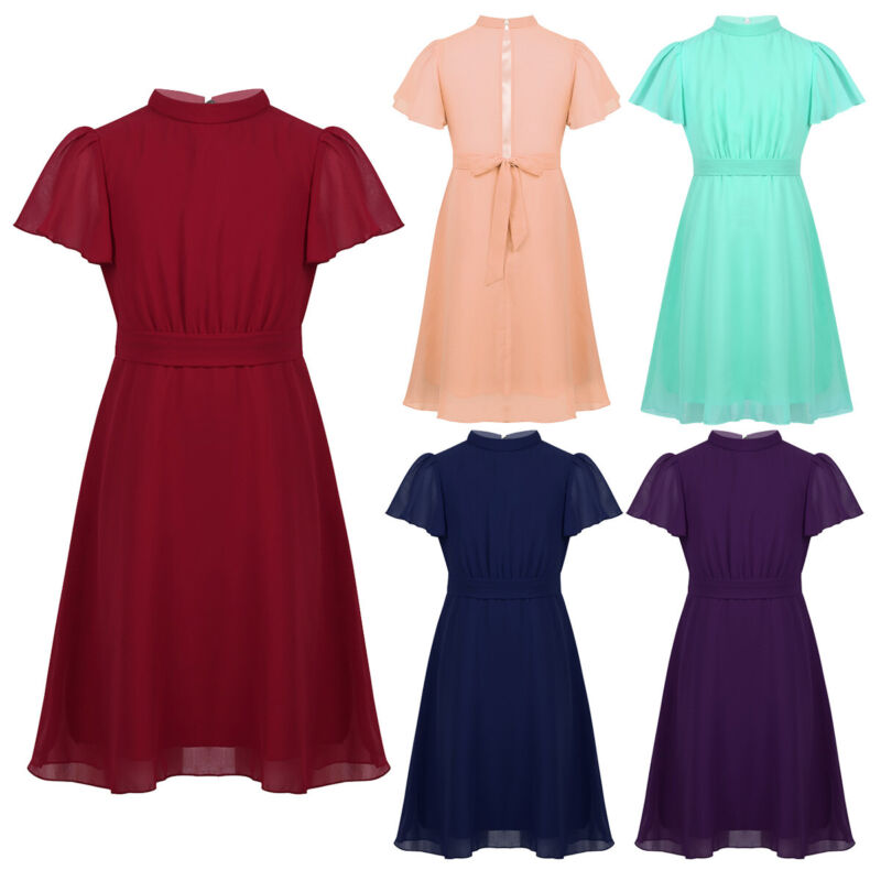 Girls Flower Dress Pleated O-Neck Buttons Closure Communion Formal Wear For Kids