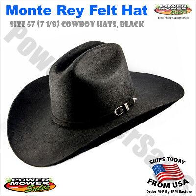 Monte Rey Felt Hat, Size 57 (7 1/8) Cowboy Hats, Black - Size 8 Cowboy Hat