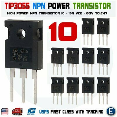 10pcs Tip3055 Power Transistor Npn 60v 15a To-247 Bipolar