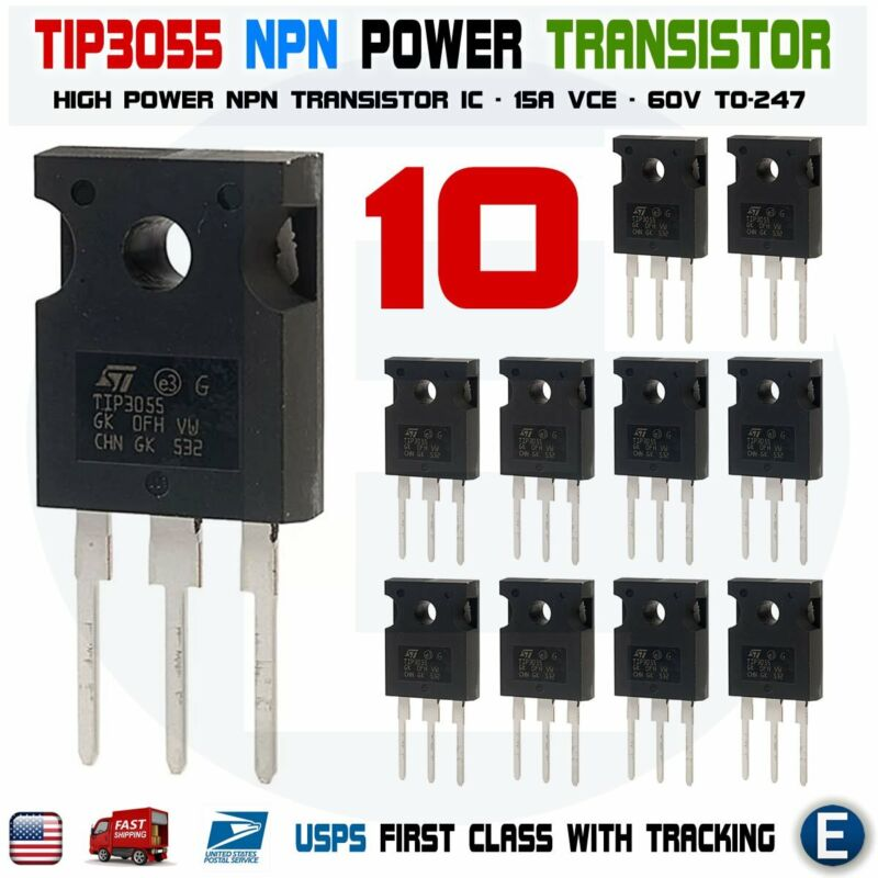 10PCS TIP3055 Power Transistor NPN 60V 15A TO-247 Bipolar