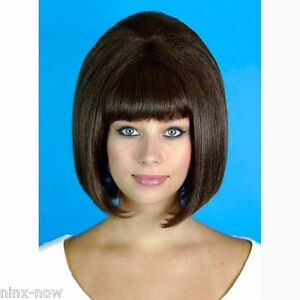 60's Beehive Hairspray Brown Wig Women's fancy dress costume accessory