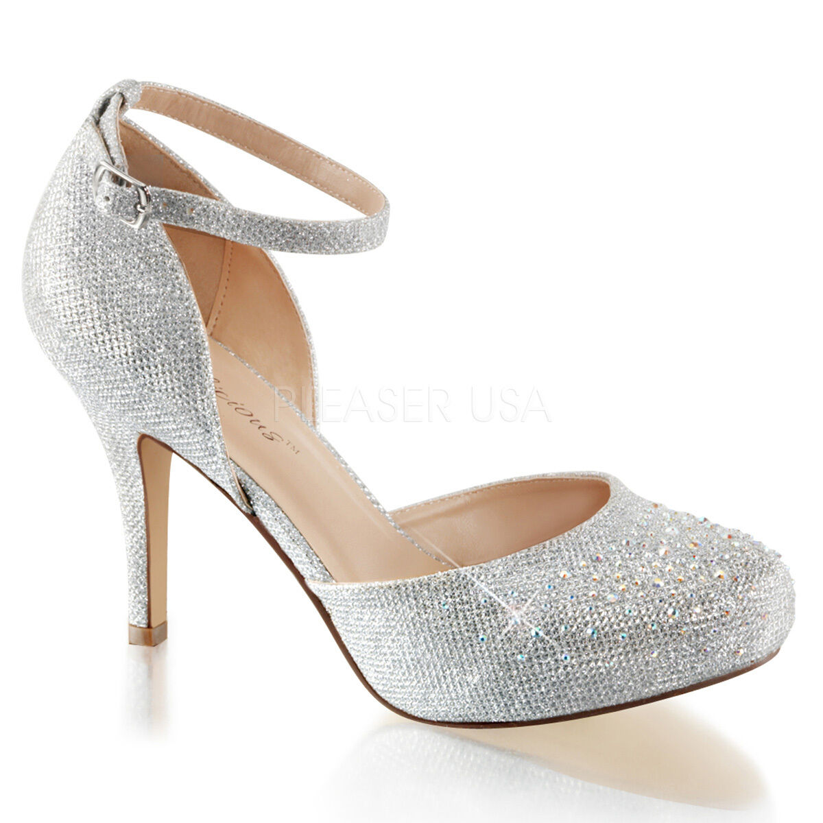 Silver Vintage Gatsby 20s Wedding Heels Formal Dance Shoes Womans size 7 8 9 10