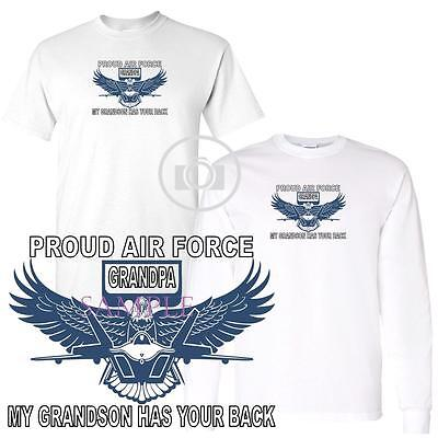 Air Force Long Sleeve T-shirt - My Grandson Has Your Back Proud Air Force Grandpa Short / Long Sleeve T Shirt